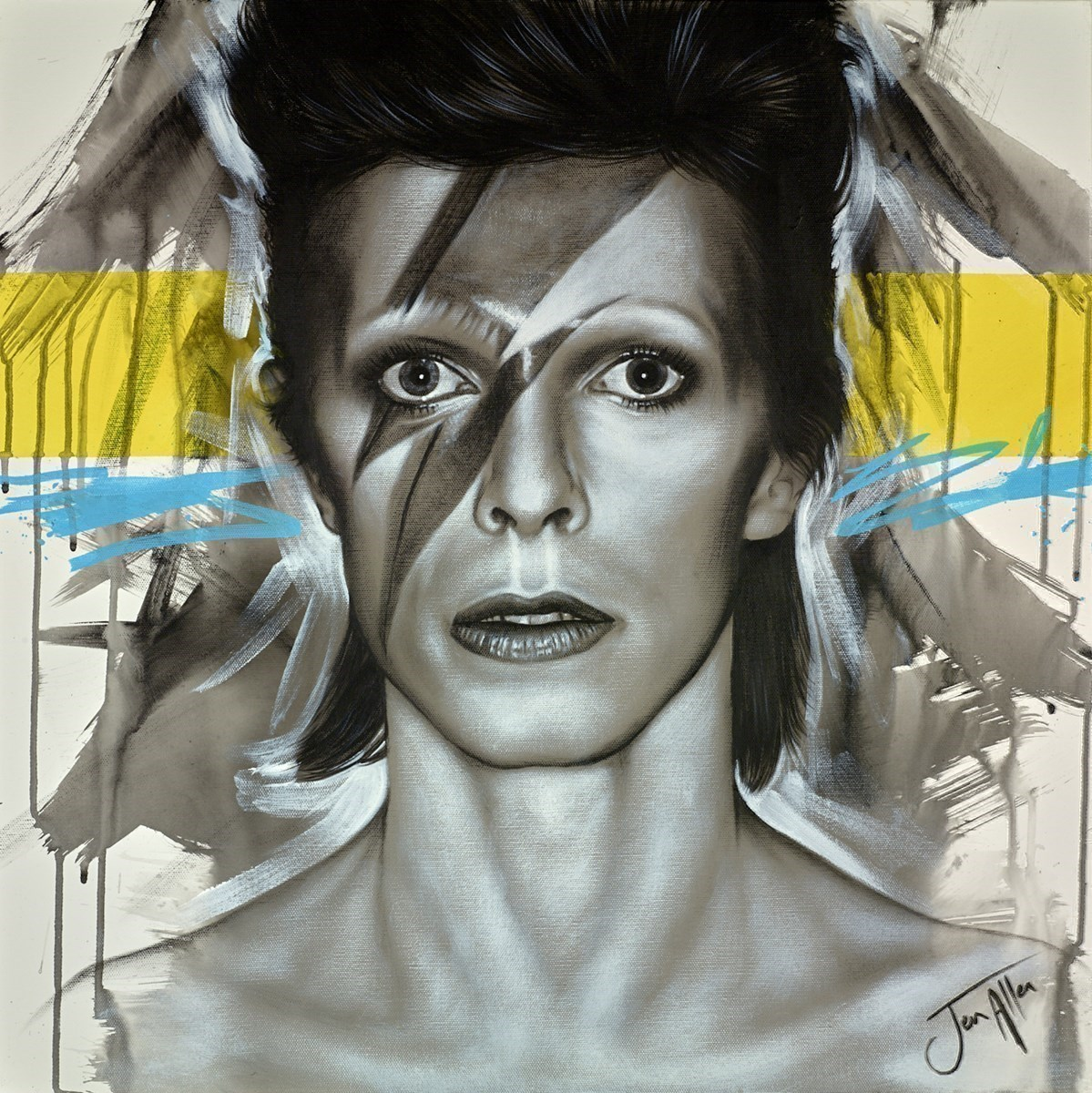 Bowie Aladdin Sane by Jen Allen -  sized 24x24 inches. Available from Whitewall Galleries